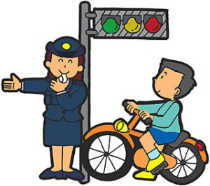 Police officers and bicycle